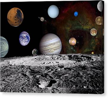 Solar System Montage Of Voyager Images Canvas Print by Movie Poster Prints