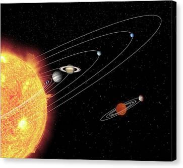 Uranus Canvas Print - Solar Systems Compared by Nasa/jpl-caltech/t. Pyle (ssc)