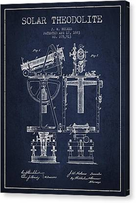 Solar Theodolite Patent From 1883 - Navy Blue Canvas Print by Aged Pixel