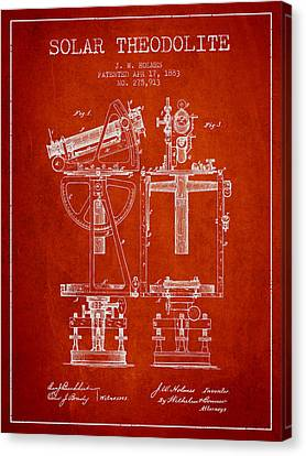 Solar Theodolite Patent From 1883 - Red Canvas Print by Aged Pixel