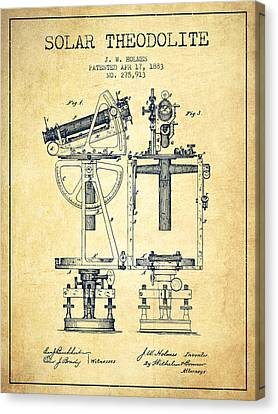 Solar Theodolite Patent From 1883 - Vintage Canvas Print by Aged Pixel
