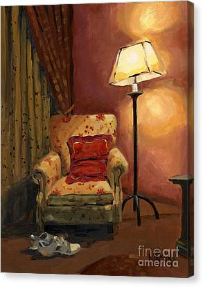 Canvas Print featuring the painting Sold - And Sit Right Down by Nancy  Parsons