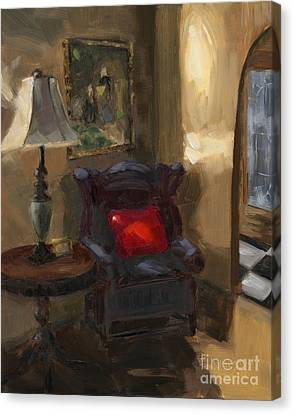 Canvas Print featuring the painting Sold First Light by Nancy  Parsons