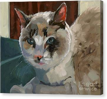 Canvas Print featuring the painting Sold -nelly Logan by Nancy  Parsons