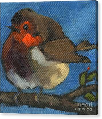 Sold - Rock'n Baby Robin Canvas Print by Nancy  Parsons