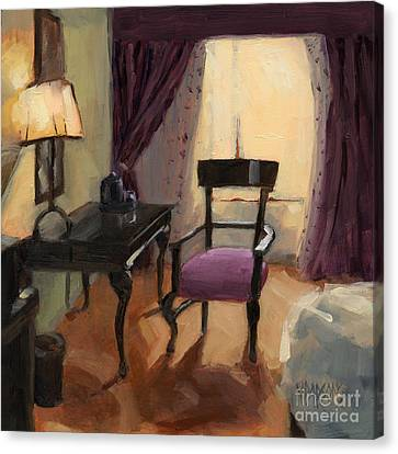Canvas Print featuring the painting Sold - Room Service  by Nancy  Parsons