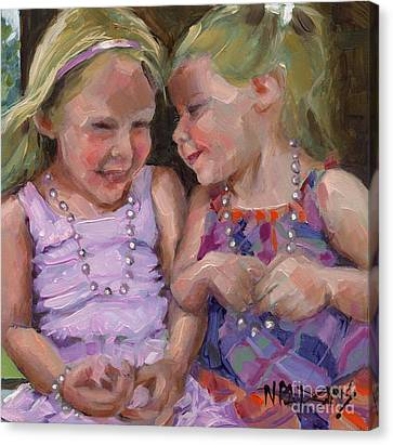 Canvas Print featuring the painting Sold Silly Sister Secrets by Nancy  Parsons