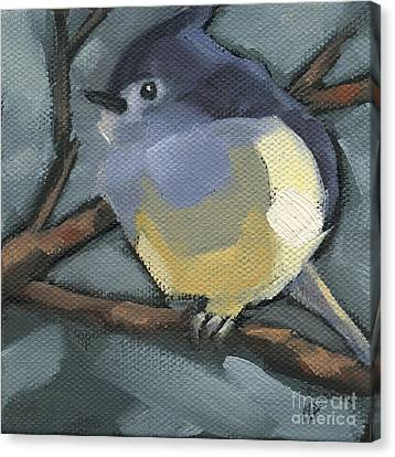 Canvas Print featuring the painting Sold Titmouse Camo by Nancy  Parsons