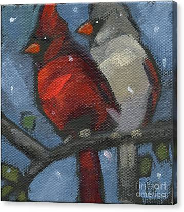 Canvas Print featuring the painting Sold We Are Family by Nancy  Parsons
