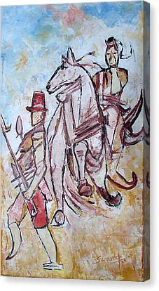 Canvas Print featuring the painting Solder And Horse by Anand Swaroop Manchiraju
