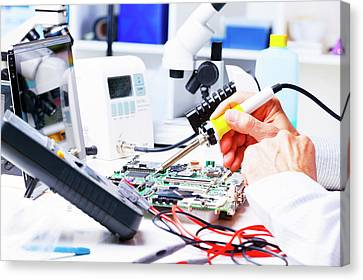 Soldering Equipment And Circuit Board Canvas Print