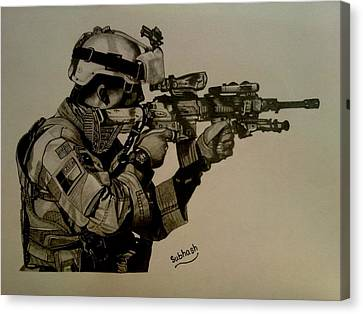 Terrorist Canvas Print - Soldier Colt Situation Afghanistan by Subhash Mathew