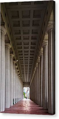Historic Architecture Canvas Print - Soldier Field Colonnade by Steve Gadomski