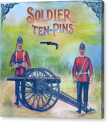 Ephemera Canvas Print - Soldier Ten-pins by Judy Tolley