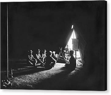 Soldiers At Camp At Night Canvas Print by Underwood Archives