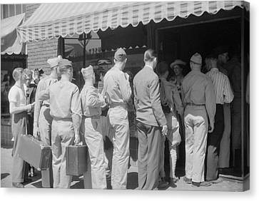 Old Bus Stations Canvas Print - Soldiers From Fort Benning At The Bus by Stocktrek Images
