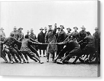 Soldiers Have Tug Of War Canvas Print by Underwood Archives
