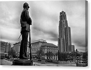 Memorial Hall Canvas Print - Soldiers Memorial And Cathedral Of Learning by Thomas R Fletcher