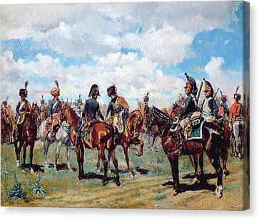 Soldiers On Horseback Canvas Print by Jean-Louis Ernest Meissonier