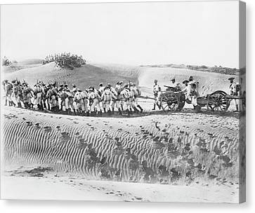 Soldiers Pulling Field Guns Canvas Print by Library Of Congress
