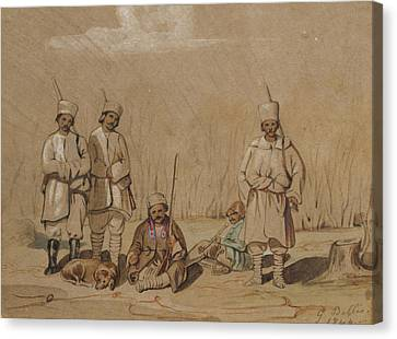 Soldiers Relaxing, 1844 Wc & Gouache On Paper Canvas Print by Georges de Bellio