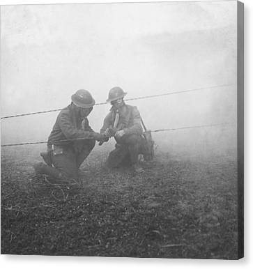 Soldiers Repairing Telephone Wire Canvas Print by Ny State Military Museum