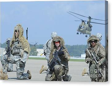 Soldiers Wearing Ghillie Suits Take Canvas Print by Stocktrek Images