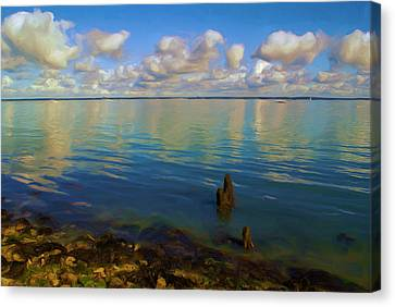 Canvas Print featuring the digital art Solent by Ron Harpham