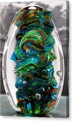 Solid Glass Sculpture - 13e7 - Blue Greens And Orange Canvas Print by David Patterson
