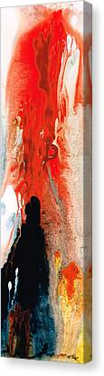 Solitary Man - Red And Black Abstract Art Canvas Print by Sharon Cummings