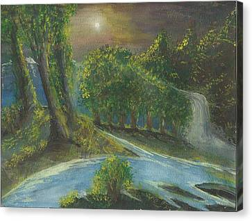 Canvas Print featuring the painting Solitary Midnight by Douglas Beatenhead