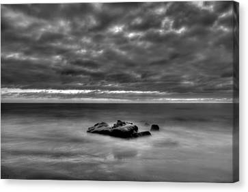 Solitary Rock - Black And White Canvas Print by Peter Tellone