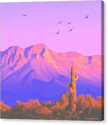 Canvas Print featuring the painting Solitary Silent Sentinel by Sophia Schmierer