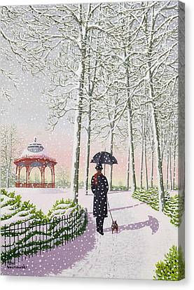 Walking The Dog Canvas Print - Solitary Stroll by Peter Szumowski