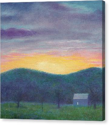 Canvas Print featuring the painting Blue Yellow Nocturne Solitary Landscape by Judith Cheng