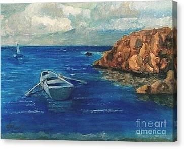 Solo Rowboat Rocks II Canvas Print