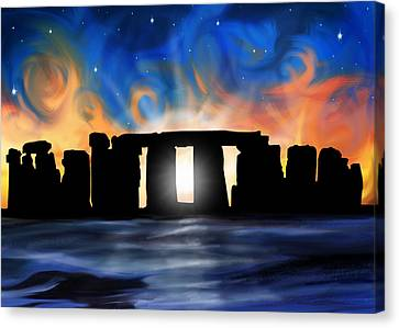 Solstice At Stonehenge  Canvas Print by David Kyte