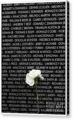 Flowers Names Canvas Print - Some Gave All - Vietnam Veterans Memorial by Edward Fielding