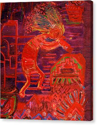 Some Like Kokopelli Hot Canvas Print by Anne-Elizabeth Whiteway