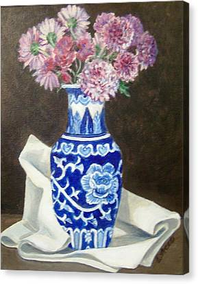 Canvas Print featuring the painting Some Mums by Laura Aceto