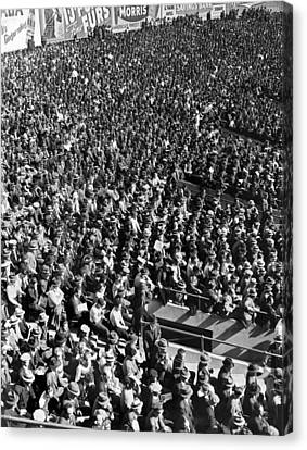 Baseball Fans At Yankee Stadium In New York   Canvas Print by Underwood Archives