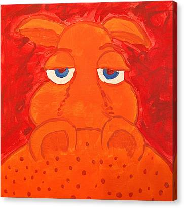 Some What Annoyed Orange Hippo Canvas Print by Yshua The Painter