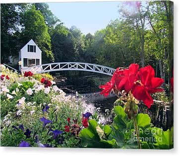 Somesville Bridge And Home Canvas Print by Elizabeth Dow