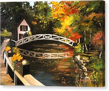 Somesville Maine Footbridge Canvas Print by Eileen Patten Oliver