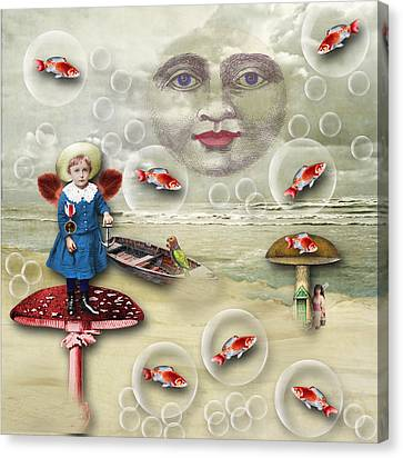 Something Fishy At The Shore Canvas Print by Bellesouth Studio