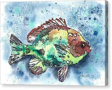 Canvas Print featuring the painting Something's Fishy by Barbara Jewell