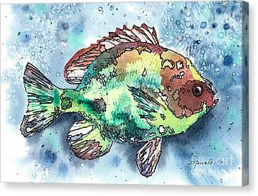 Canvas Print featuring the painting Something's Fishy Two by Barbara Jewell