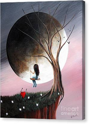 Glowing Moon Canvas Print - Sometimes She Just Wants To Be Alone By Shawna Erback by Shawna Erback