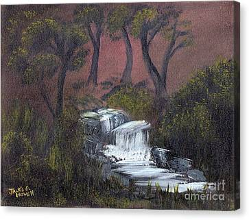 Canvas Print featuring the painting Somewhere Along A Waterfall by J Cheyenne Howell