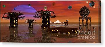 Canvas Print featuring the digital art Somewhere In Space by Jacqueline Lloyd